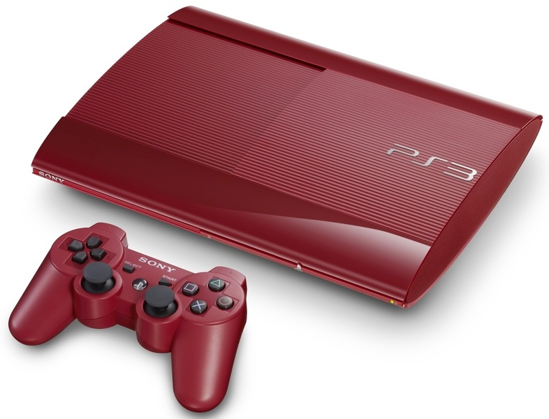 Sony PlayStation 3 Slim Console 12GB Garnet Red + Red DS3 Controller (PS3)