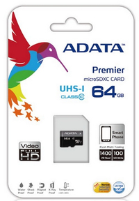 ADATA Premier 64GB MicroSDXC UHS-I Class10 Memory Card + Adapter - Cover