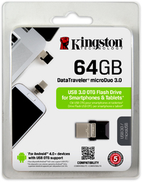 Kingston Technology - 64GB microDuo USB 3.0 Flash Drive - Cover