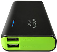 ADATA PT100 10000 mAh Power Bank - Black & Green - Cover