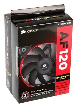 Corsair AF120 Performance x2 (Twin Pack) High Airflow 120mm Fan -  White/Blue/Red colour rings