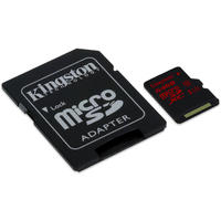 Kingston 64GB UHS-I U3 microSDXC with SDXC adapter - Retail Pack (not compatible with SDHC ONLY camera/reader)