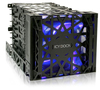 """iCYDOCK Black Vortex MB074SP-B 4 Bay 3.5 Inch Hard Drive Cooler Cage with 120mm Front LED Fan in 3x 5.25"""" Bay"""