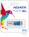 ADATA C008 64GB Capless Sliding USB Flash Drive - White and Blue