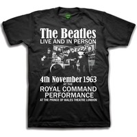 The Beatles Live and in Person Boys Black T-Shirt (Large) - Cover