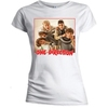 One Direction Band Red Border Skinny White T-Shirt (X-Large)