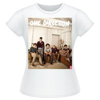 One Direction Band Lounge Colour Skinny White T-Shirt (Large) - Cover