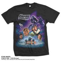 Star Wars The Empire Strikes Back Montage Mens Black T-Shirt (Small) - Cover