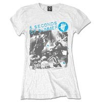 5 Seconds of Summer Live Collage Ladies White T-Shirt (Large) - Cover