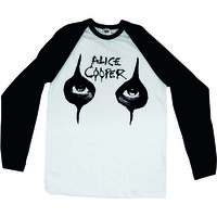 Alice Cooper Eyes Raglan Baseball Long Sleeve T-Shirt (Small) - Cover