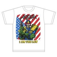Anthrax I Am The Law Vintage Mens White T-Shirt (XX-Large) - Cover