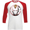 Marvel Comics Captain America Knock Out Circle Raglan Baseball Long Sleeve Shirt (XX-Large)