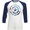 Marvel Comics Captain America Shield Knock Out Raglan Baseba (X-Large)