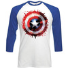 Marvel Comics Captain America Splat Shield Raglan Baseball Long Sleeve T-Shirt (Medium)