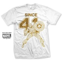 Marvel Comics Captain Since 41 Mens White T-Shirts (Small) - Cover