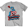 Marvel Comics Simple Captain America Mens Grey T-Shirt (Small)