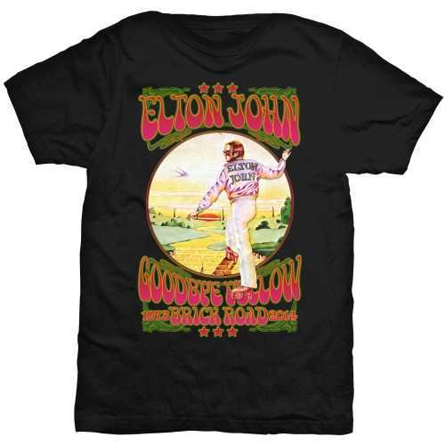 33ab40bad67 Elton John Goodbye Yellow Brick Road Vintage Black Mens T-Shirt (Large) -