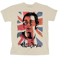 Elton John Union Jack Mens Natural T-Shirt (Large) - Cover