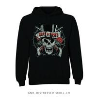 Guns N Roses Distressed Skull Pullover Hoodie (Medium) - Cover