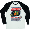 Motley Crue SATD Tour Poster Raglan Baseball Long Sleeve T-Shirt (Large)
