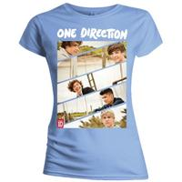 One Direction Band Sliced Kids Fitted Pale Blue T-Shirt (Large)