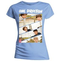 One Direction Band Sliced Kids Fitted Pale Blue T-Shirt (Medium) - Cover