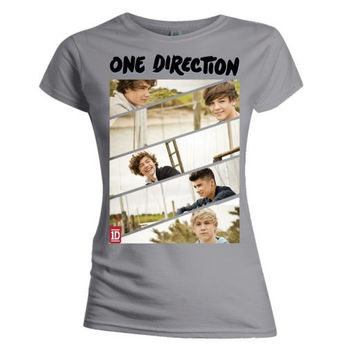One Direction Band Sliced Skinny Grey T-Shirt (Large)