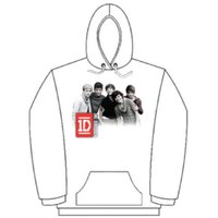 One Direction Photo Group White Ladies Hooded Top (Medium) - Cover