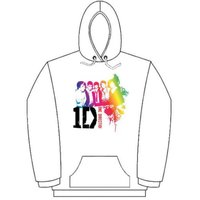 One Direction Rainbow Group White Ladies Hooded Top (X-Large) - Cover