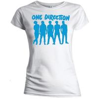 One Direction Silhouette Blue on White Skinny T-Shirt (X-Large)