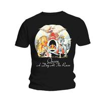 Queen A Day At The Races Mens Black T-Shirt (Large) - Cover