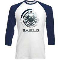 Marvel Comics S.H.I.E.L.D. Symbol Raglan Baseball Long Sleeve T-Shirt (Medium) - Cover