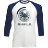 Marvel Comics S.H.I.E.L.D. Symbol Raglan Baseball Long Sleeve T-Shirt (X-Large)