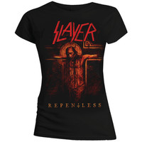 Slayer Repentless Crucifix Ladies Black T-Shirt (Small) - Cover