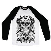 Slayer Skulls Raglan Baseball Long Sleeve T-Shirt (Medium) - Cover
