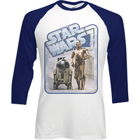 Star Wars Retro Droids Raglan Baseball Long Sleeve T-Shirt (XX-Large) - Cover