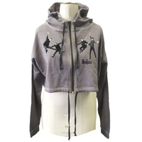 The Beatles Jump Ladies Fitted Hooded Sweatshirt Grey Smal (Small) - Cover