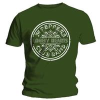 The Beatles Lonely Hearts Mens Green T-Shirt (Large)