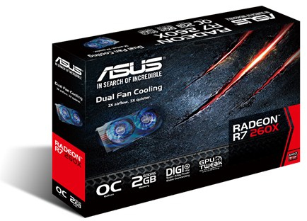 ASUS AMD Radeon R7 260X OC Edition 2GB DDR5 128-bit Graphics Card