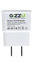 Gizzu 2 Port 2.1a USB Wall Charger - White - Cover