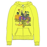 The Beatles Sub Band & Logo Ladies Yellow Zip Hoodie (X-Large) - Cover