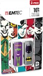 Emtec M700 Super Hero 16GB USB 2 Flash Drive - Batman and Joker (2 Pack)