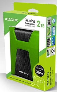 ADATA DashDrive HD650X Series 2TB for Xbox USB 3.0 - Green/Black - Cover