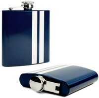 Tuff-Luv Modern Style Hip Flask - Stainless Steel Blue / White Stripe - Cover