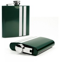 Tuff-Luv Modern Style Hip Flask - Stainless Steel Green / White Stripe - Cover