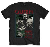 Queen News of the World Black Mens T-Shirt (Large) - Cover
