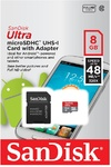 Sandisk Ultra Android Class 10 MicroSDHC & SD Adapter - 8GB (Incl Memory Zone Android App - 48MB/s)