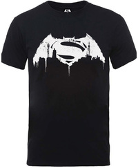 Batman v Superman Beaten Logo Mens Black T-Shirt (XX-Large) - Cover