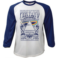 Pink Floyd Carnegie Hall Poster Baseball Raglan Long Sleeve T-Shirt (X-Large) - Cover