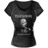 Iron Maiden Book of Souls Acid Wash Ladies T-Shirt (Small)